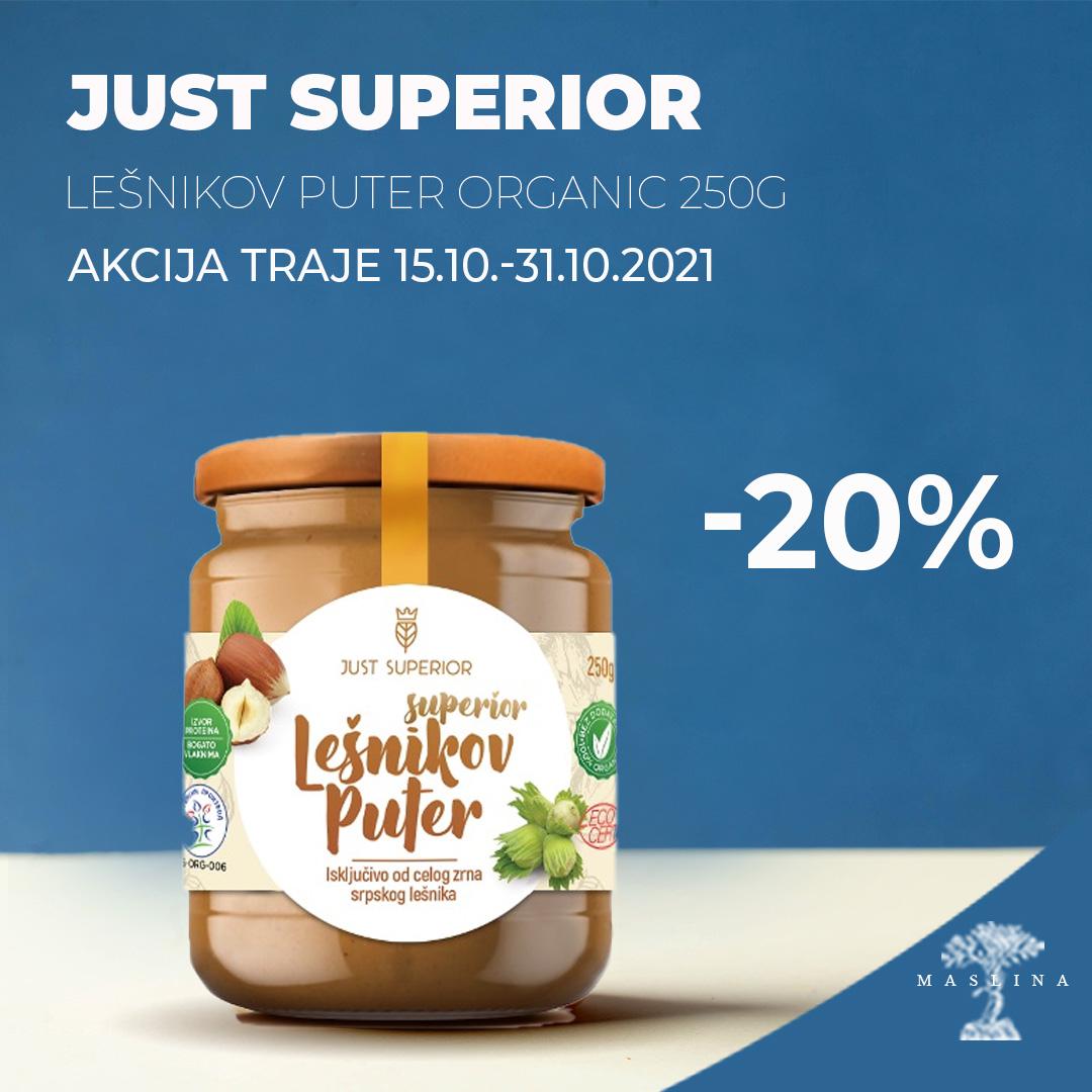 JUST SUPERIOR LEŠNIKOV PUTER ORGANSKI -20%