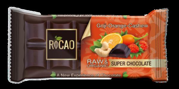 Organska sirova čokolada godži pomorandža i indijski orah Rocao 38g