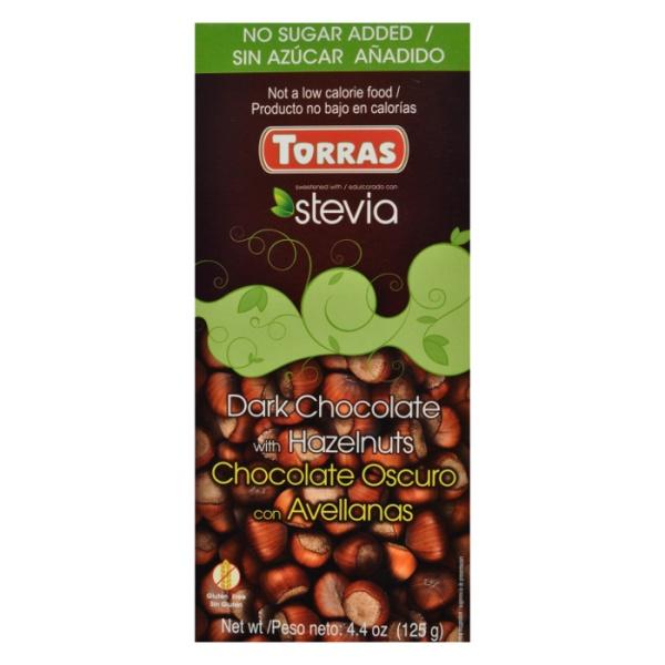 Crna čokolada sa lešnikom i steviom Torras 125g