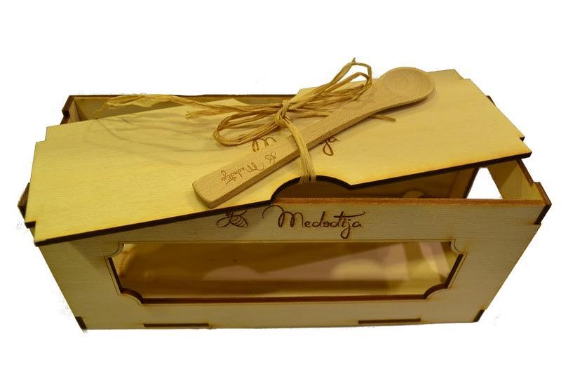 Drvena kutija za teglice Medođija  box 3kom
