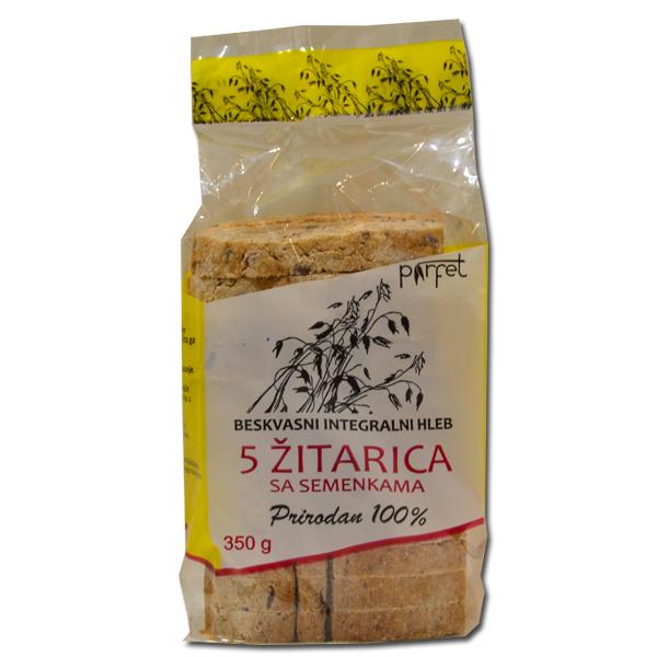 Beskvasni hleb od pet žitarica sa semenkama 350g