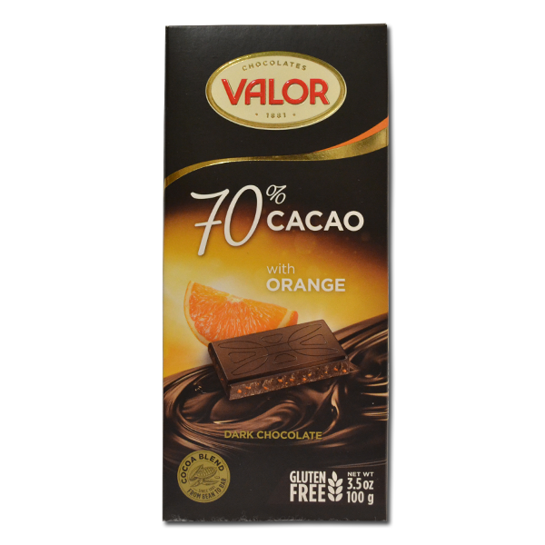 Čokolada sa 70% kakaa sa pomorandžom bez glutena Valor 100g