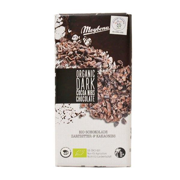 Organska tamna čokolada sa komadićima kakao zrna Meybona 100g