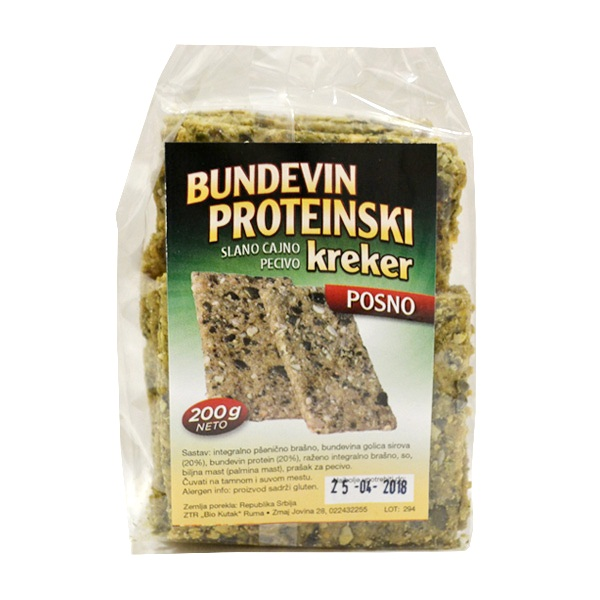 Bundevin proteinski kreker Bio Kutak 200g