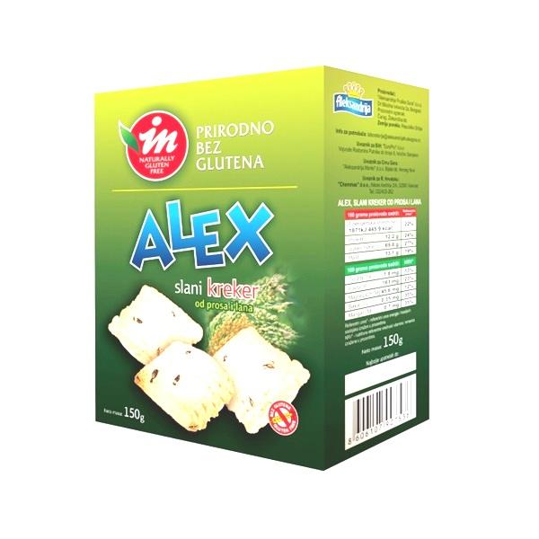 Alex slani kreker od prosa i lana  bez glutena In proizvod 150g