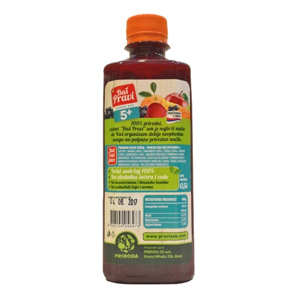Pravi sok 5 plus multivitamin Priroda 500ml