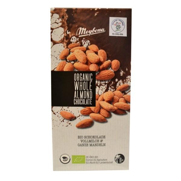 Organska mlečna čokolada sa celim bademima Meybona 100g