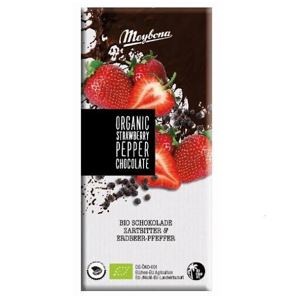 Organska čokolada sa komadićima jagode i biberom Meybona 100g