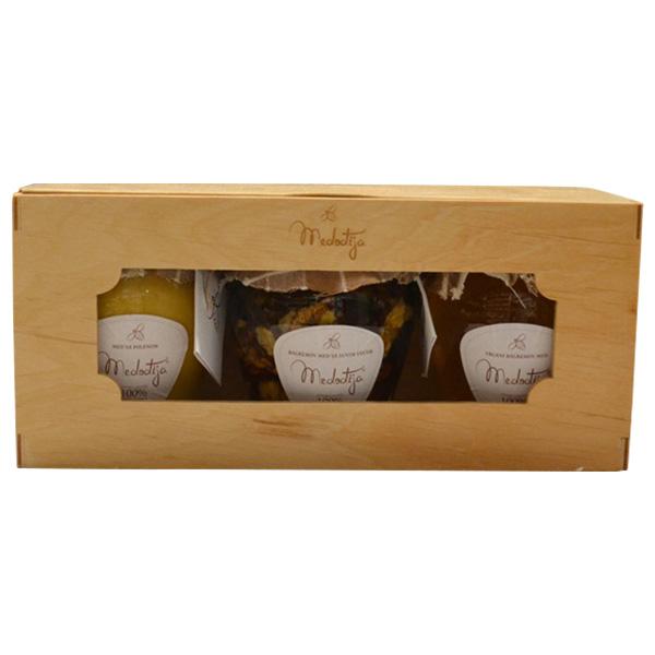 Medođija set - 3 meda u drvenoj kutiji