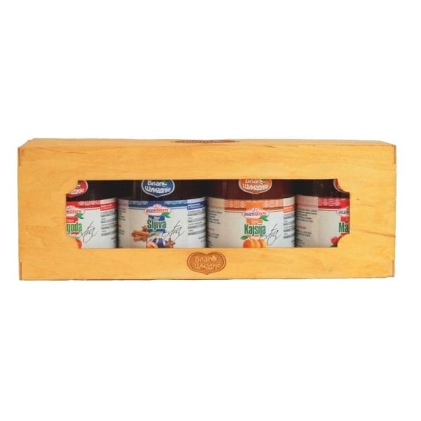 Blago šumadije set - 4 džema u drvenoj kutiji