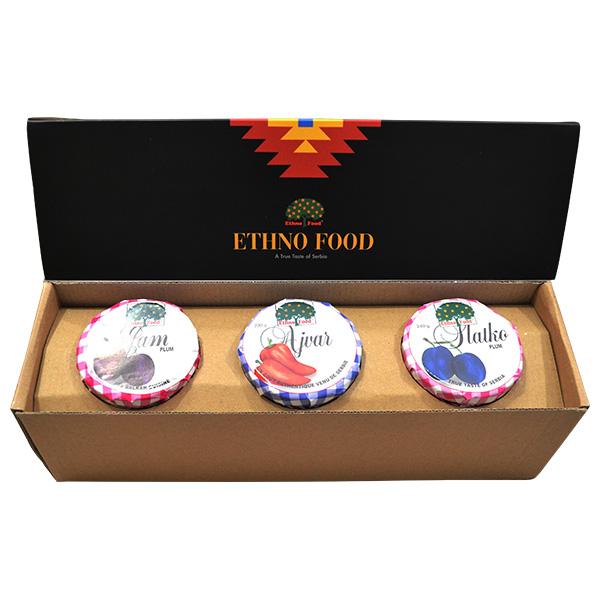 ETHNO FOOD kartonska poklon kutija - slatko, džem, ajvar 3x250g