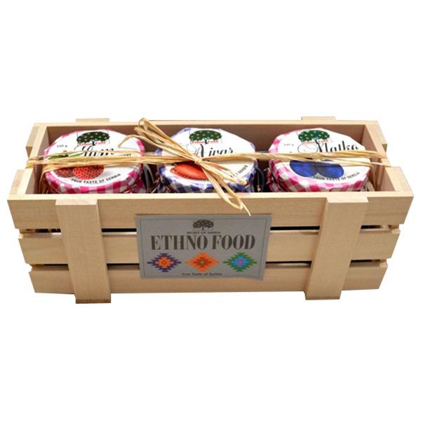 ETHNO FOOD Drvena poklon kutija - džem, ajvar, slatko 250g
