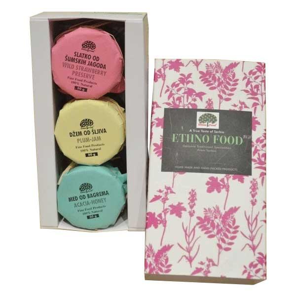 ETHNO FOOD Slatko - Džem - Med u  kartonskoj poklon kutiji 3x50 g