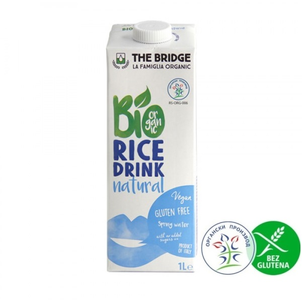 Organski pirinčani napitak natural  bez glutena The Bridge 1l