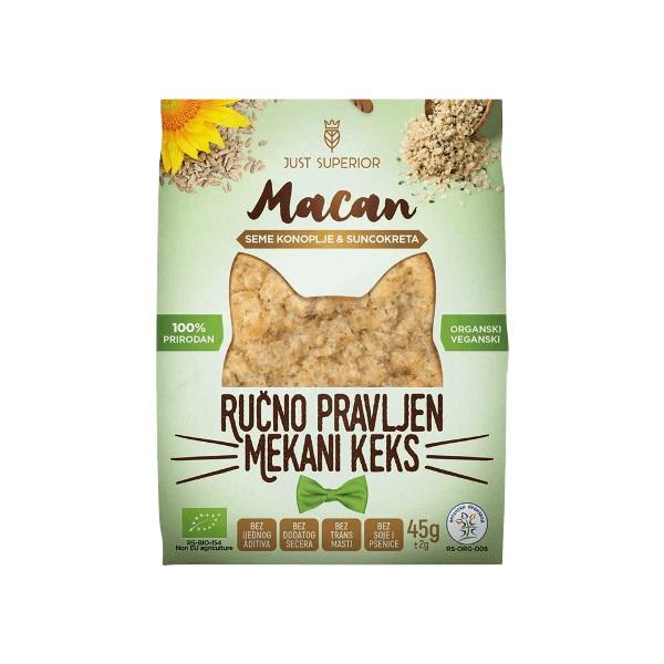 Keks sa semenom konoplje i suncokretom Macan organic 45g Just Superior