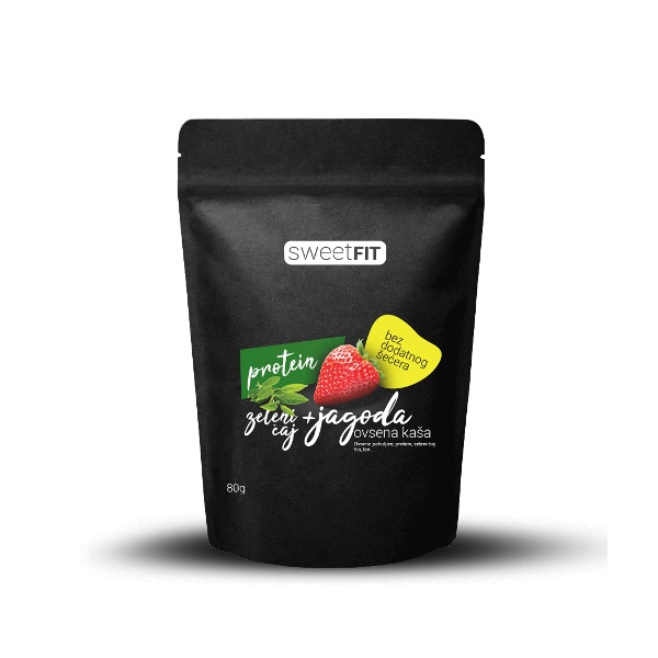 Proteinska ovsena kaša jagoda + zeleni čaj Sweetfit 80g