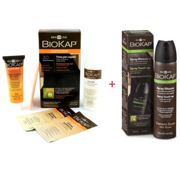 Biokap set Nutricolor farba za kosu 3.0 plus  Sprej Touch-Up tamno smeđi 75ml