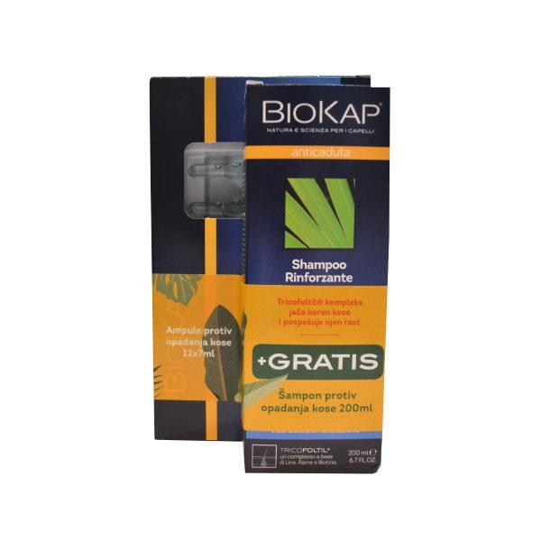 BIOKAP SET ampule +šampon protiv opadanja kose 200ml