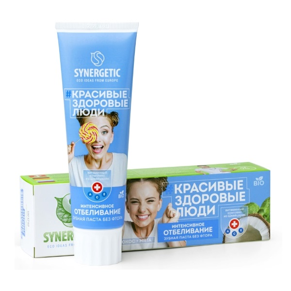 SYNERGETIC  bio vitaminska pasta za zube intezivno izbeljivanje 100g