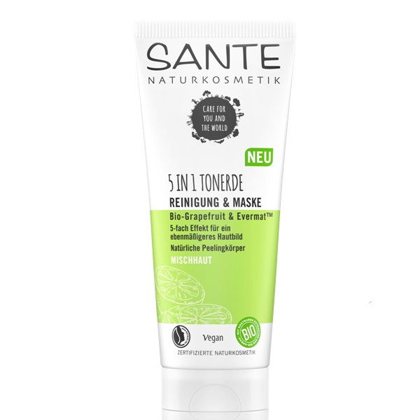 Sante matirajuća 5u1 glina za čišćenje lica Bio grejpfrut i Evermat 100ml
