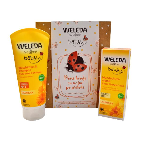 Weleda Set od nevena šampon i gel za tuširanje od nevena 200ml i krema za područje pelena od nevena 75ml