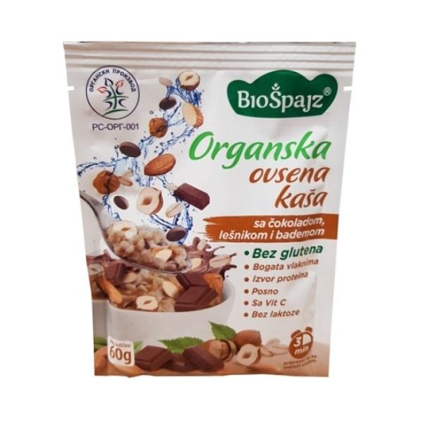 Ovsena kaša sa čokoladom, lešnikom i bademom bez glutena organic Bio Špajz 60g
