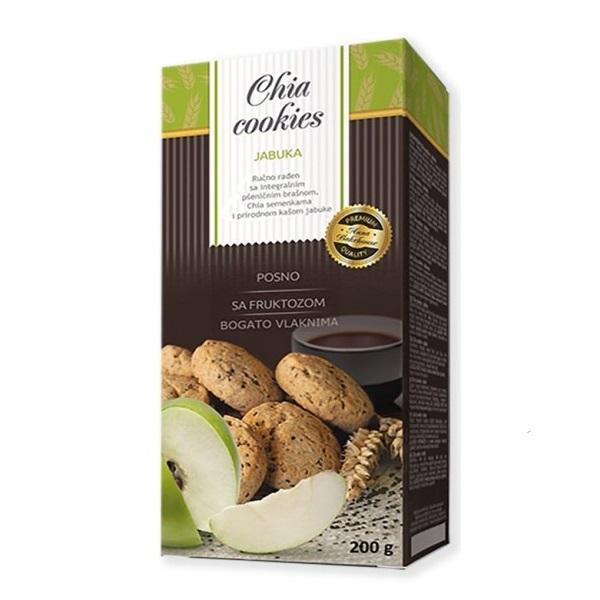 Chia cookies jabuka - čajno pecivo sa integralnim brašnom, čijom i jabukom 200g