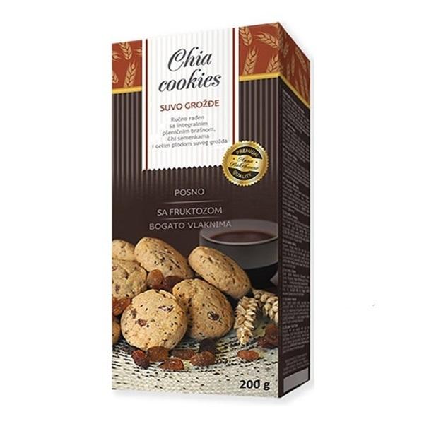 Chia cookies suvo grožđe - čajno pecivo sa integralnim brašnom, čijom i suvim grožđem 200g