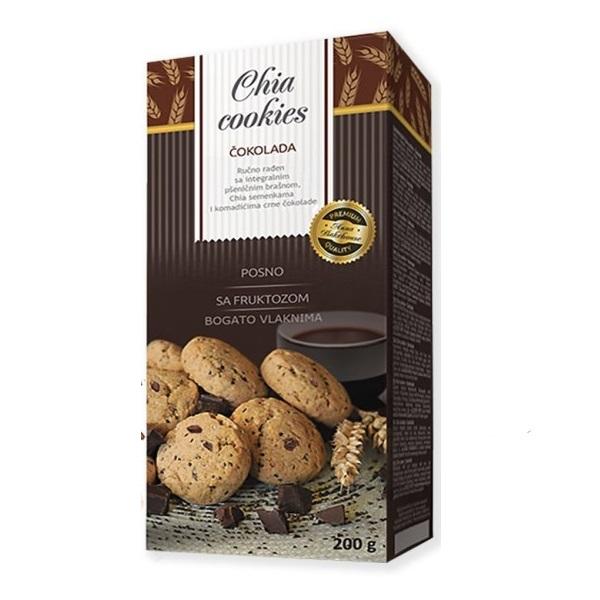 Chia cookies čokolada - čajno pecivo sa integralnim brašnom, čijom i čokoladom 200g