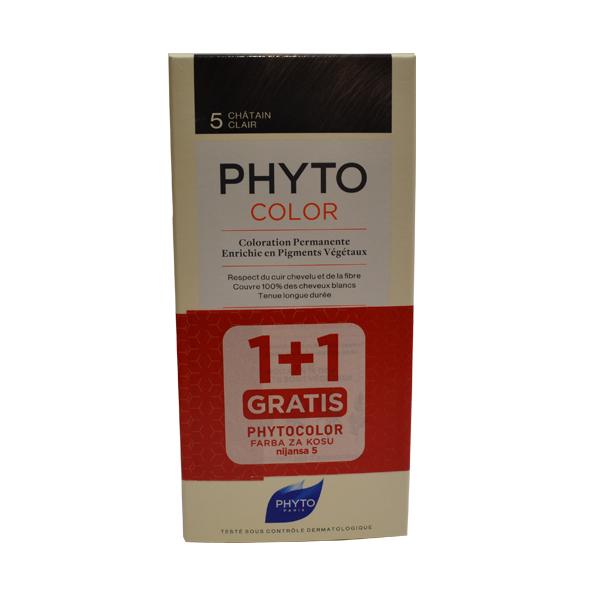 PHYTOCOLOR FARBA ZA KOSU 5 -CHATAIN CLAIR 1+1 GRATIS