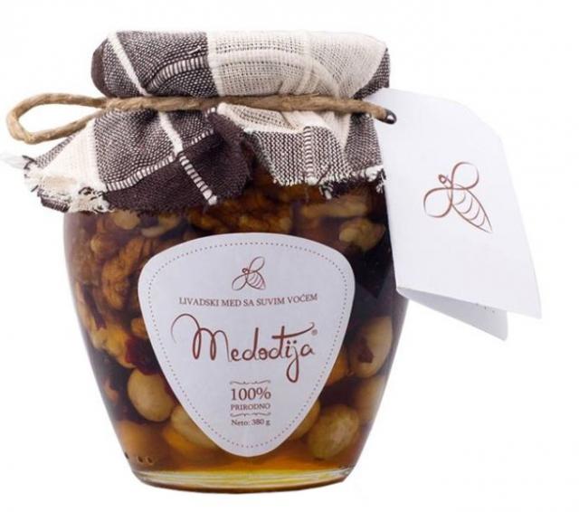 Bagremov med sa suvim i koštunjavim voćem Medođija 380g