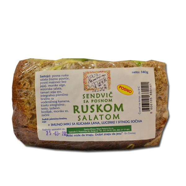 Sendvič sa posnom ruskom salatom i algama 180g