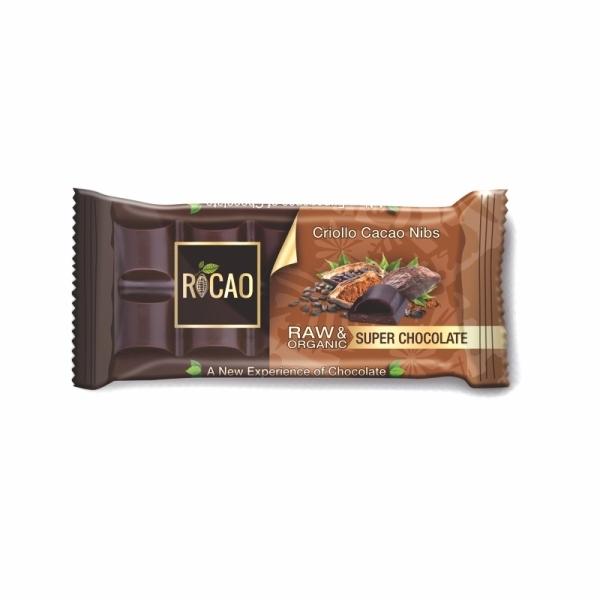 Organska sirova čokolada sa kakao komadićima Rocao 38g
