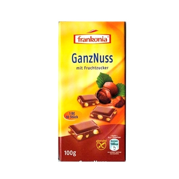 Čokolada sa celim lešnicima dijet  Frankonia 100g