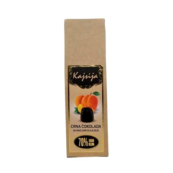 Praline crna čokoladsa sa rakijom od kajsije 95g