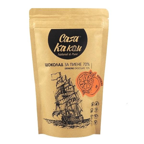 Čokolada za piće sa 70% kakaoa sa pomorandžom Casa Kakau 200g
