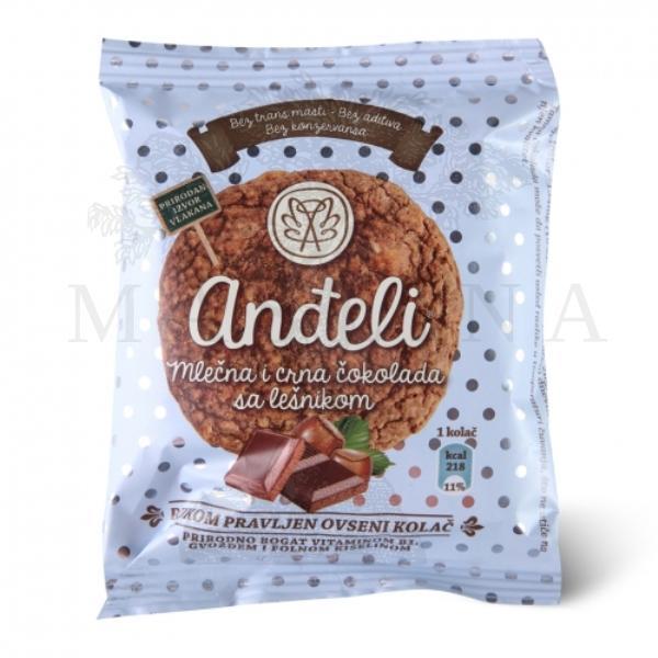 Anđeli ovseni kolač mlečna i crna čokolada sa lešnikom 50g