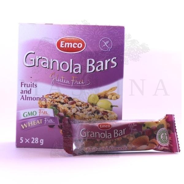 Bezglutenski granola bar sa voćem i bademima Emco 5x28g