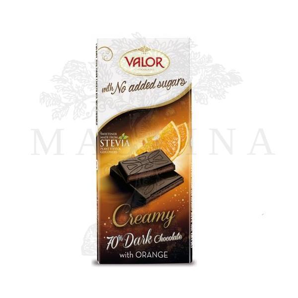 Čokolada sa 70% kakaa sa pomorandžom i steviom Valor 100g
