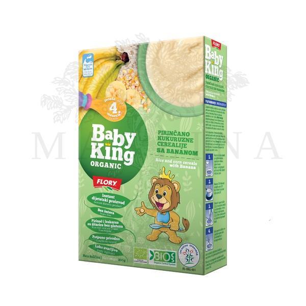 Pirinčano kukuruzne cerealije sa bananom organic Beby King 200g