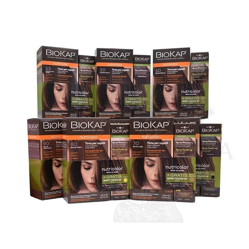 Biokap set Nutricolor 5.0 farba za kosu  svetlo smeđa + Sprej Touch-Up tamno smeđi 75ml