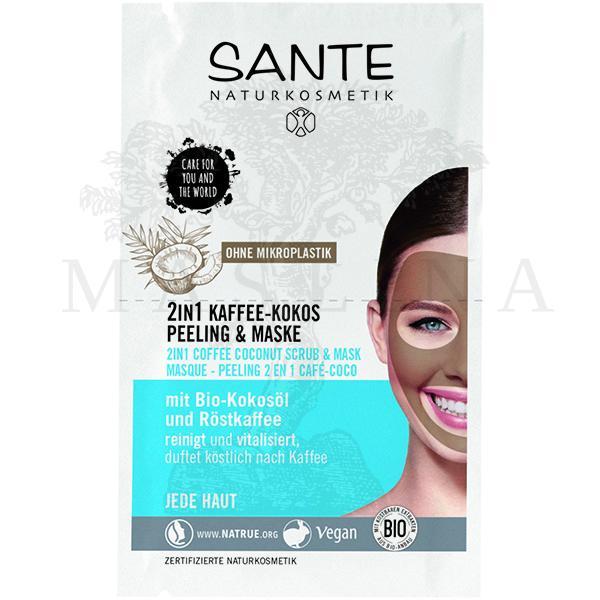 Sante 2u1 piling i maska za lice, kafa i kokos 8ml  NOVO